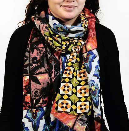 Wool Antique Tiles Scarf