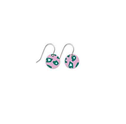 Moe Moe Design - Green Lined Leopard Small Circle Drop Earrings