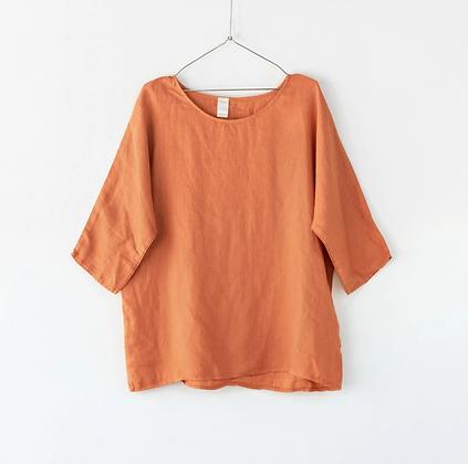 Montaigne Paris - Loose Linen 3/4 Sleeve Top Rust