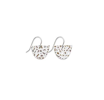 Moe Moe Design - Neutral Tones Terrazzo Grid Small Bell Drop Earrings