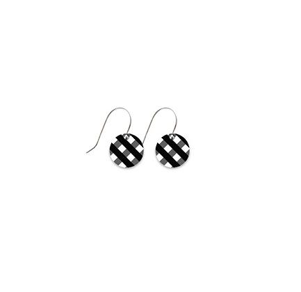 Moe Moe Design - Ebony Gingham Small Circle Drop Earrings