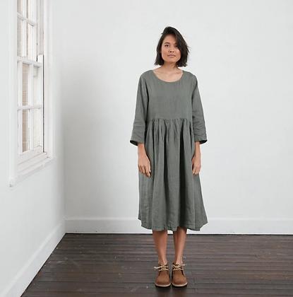 Montaigne Paris - Linen Long Sleeve Dress Khaki
