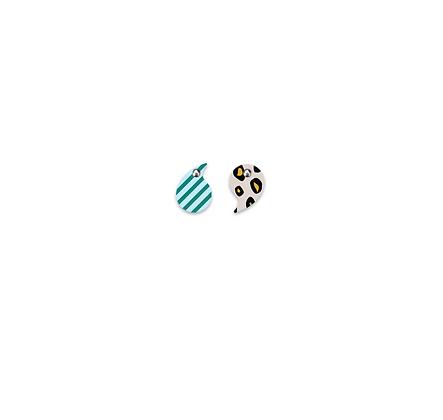 Moe Moe Design - Green Lined Black Leopard Small Comma Stud Earrings