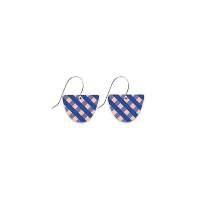 Moe Moe Design - Indigo Gingham Small Bell Drop Earrings