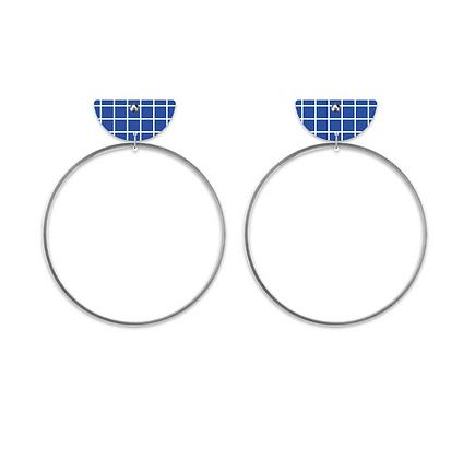 Moe Moe Design - Cool Tones Terrazzo Moon Ring Stud Earrings