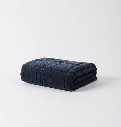 Citta Design Washed Velvet Quilted Throw - Midnight Blue