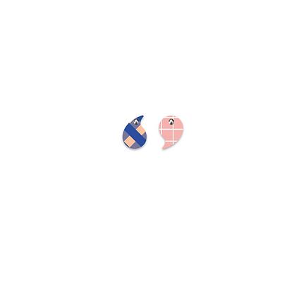 Moe Moe Design - Indigo Gingham Warm Grid Small Comma Stud Earrings