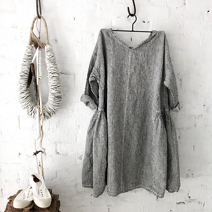 Megby Design - Audrey Linen Dress Black and White