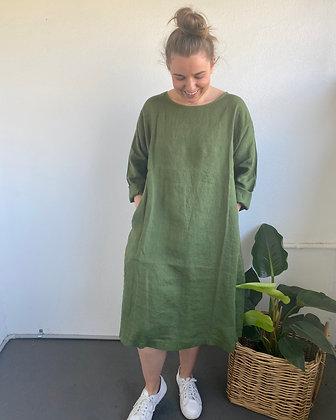 Montaigne Paris - Linen Straight Hem Dress Olive