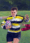 Painting of a young rugby player