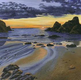 Sunset near Padstow, Wall art, landscape painting, acrylic paintings, sunset scene, seascape, rocks, beach, sand, Cornwall