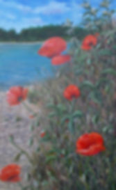 Acrylic painting of poppies by a lake