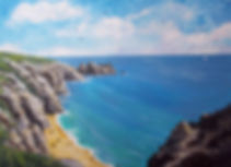 Painting of Logans Rock Cornwall