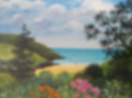 Acrylic painting Porthluney Cove