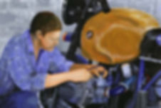 Painting of a man working on a motorcycle engine