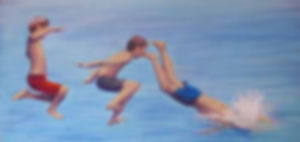painting of 3 boys jumping into water
