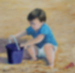 Boy playing on beach painting in acrylics