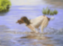 Painting of Dog running in water