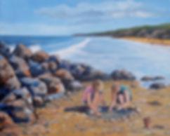 Painting childrern on beach