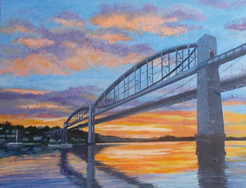 Painting Tamar bridges Cornwall