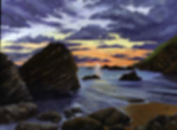Painting of Sunset at Whitsand Bay, Cornwall