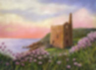 Landscape / seascape Cornwall mine pumping house