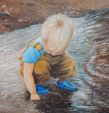 acrylic painting child in stream