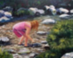 acrylic painting of girl in stream
