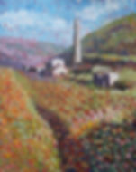 Pointillist painting of Cornish mine ruin