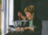 Painting of a young boy baking