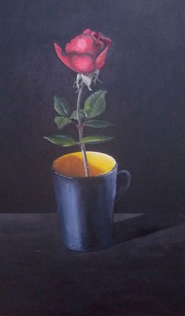 acrylic painting of rose in a mug