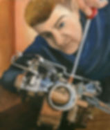 Painting of a man adjusting a carburretor