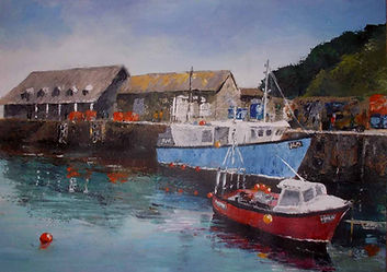 painting of Mevagissey harbour, Cornwall