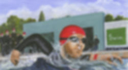 Painting of a man swimming