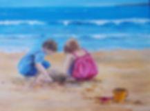 painting of children on beach