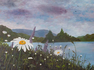 Landscape in oils daisies by the lake