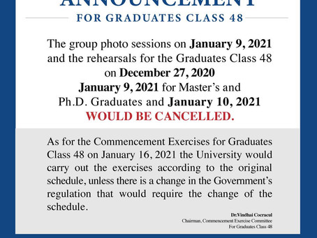 Announcement for Graduates Class 48