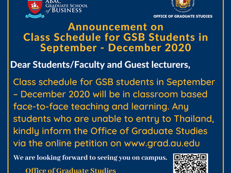 Announcement on Class Schedule for GSB Students in September - December 2020