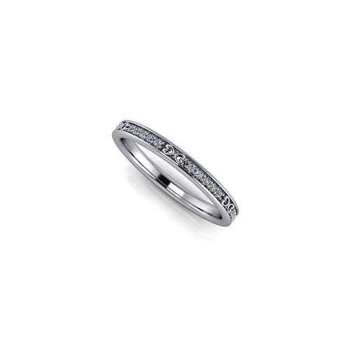 2mm diamond and pattern Art Deco band