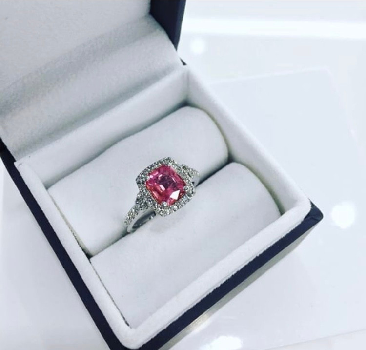 bespoke pink sapphire engagement ring made by House of Solus in the Jewellery Quarter