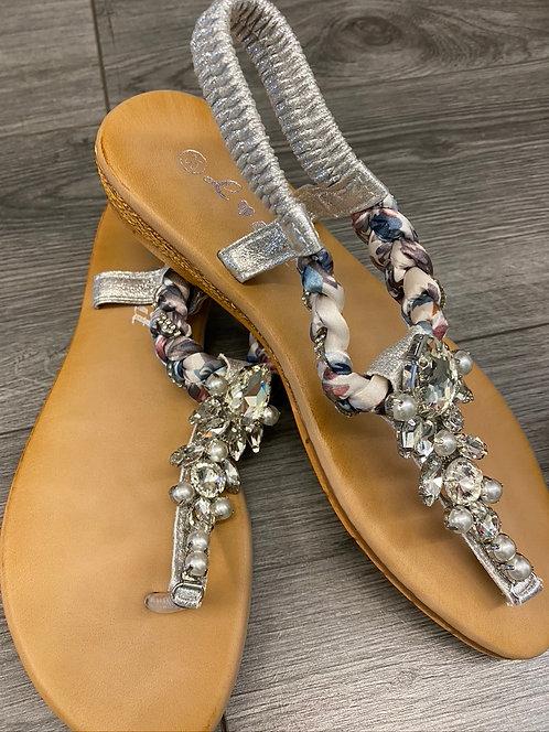 Bling Bling Thong Sandals - Silver