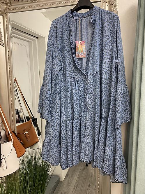 Melissa Animal Print Denim Tunic Dress