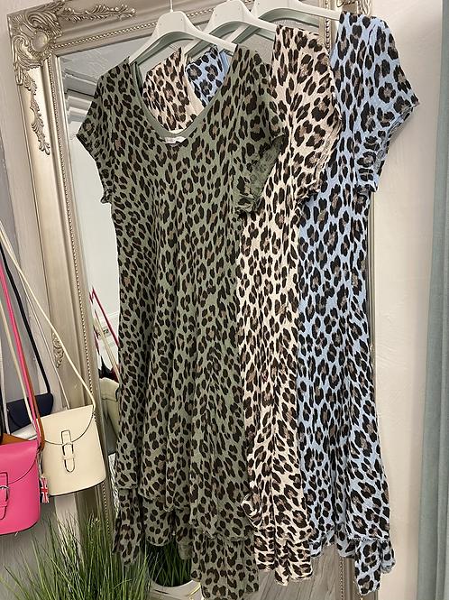 Animal Print Cotton Layered Dress