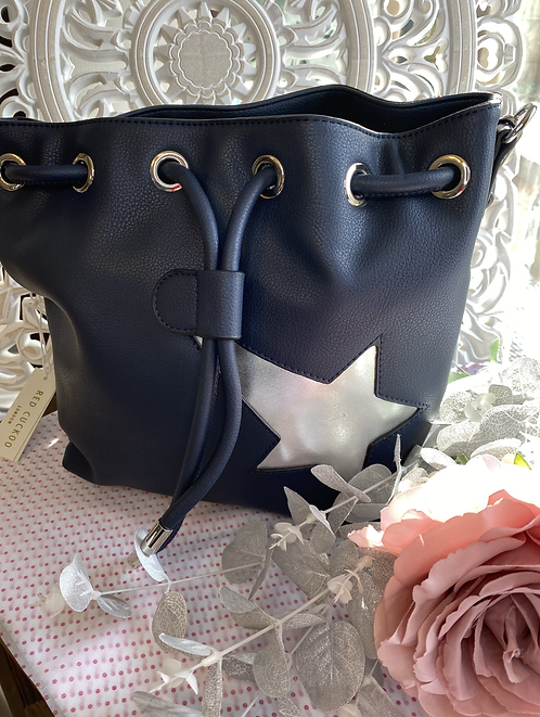 Navy Bucket Bag with Star Detail
