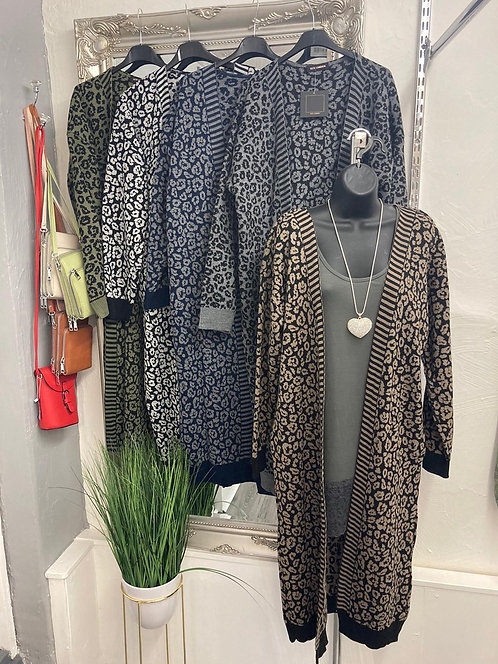 Hattie Long Knit Cardigan - Animal Print