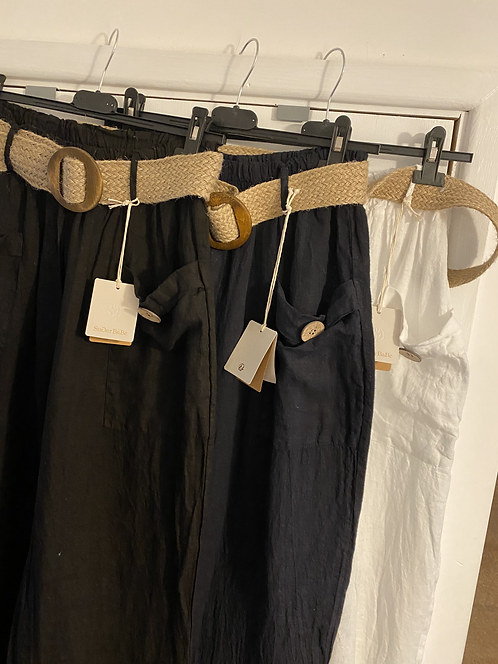 Linen Trousers - Belted