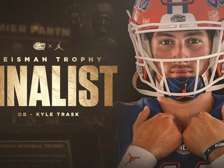 Florida Gators Kyle Trask Named Heisman Trophy Finalist; Kyle Pitts Finishes In Top Ten Of Voting