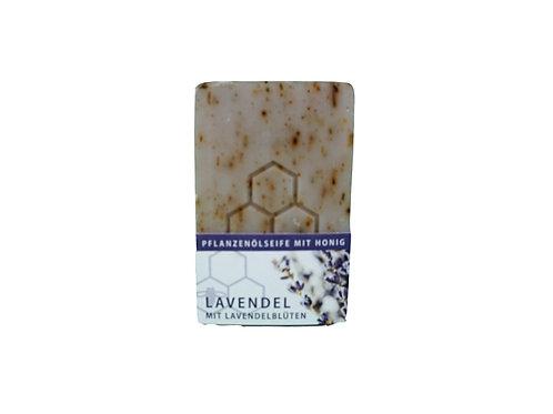 Pflanzenölseife mit Honig, Lavendelduft, mit echten Lavendelblüten
