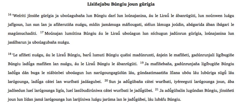 Garifuna Bible John 3:16