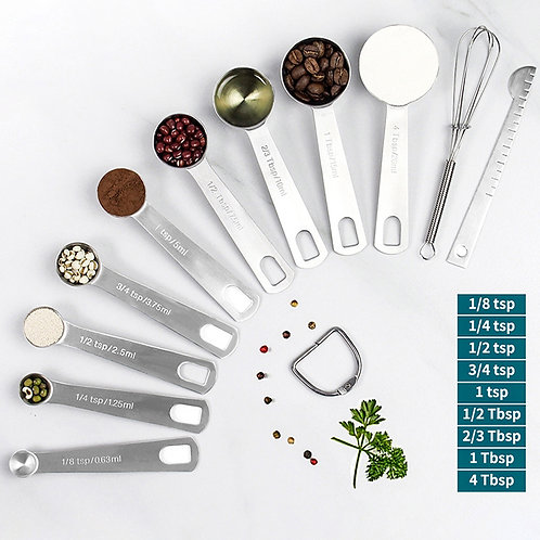 Measuring Spoons Set - Heavy Duty Stainless Steel Measuring Tools